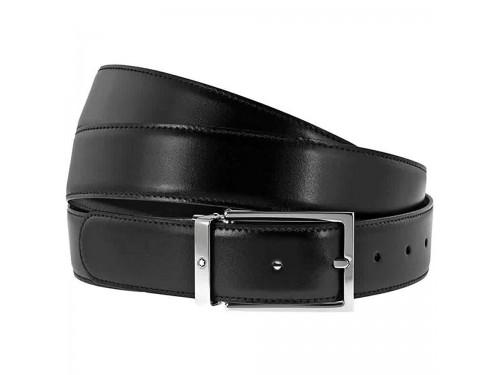 Cintura Montblanc Casual Prestige in Pelle Double Face con Fibbia Rettangolare