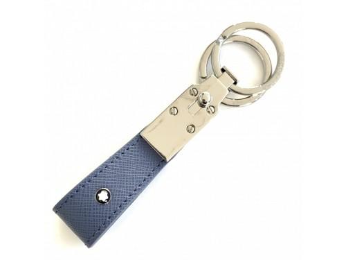 Portachiavi Montblanc Sartorial in Pelle Blu Denim