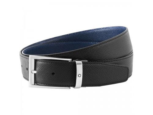 Cintura Montblanc in Pelle Double Face Nera/Blu con Fibbia Rettangolare