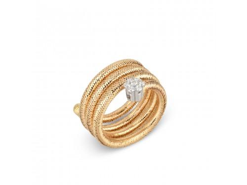Anello Ponte Vecchio in oro e diamanti con 3 fili - collezione Nobile