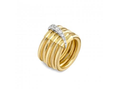 Anello Ponte Vecchio in oro e diamanti con 5 fili - collezione Nobile