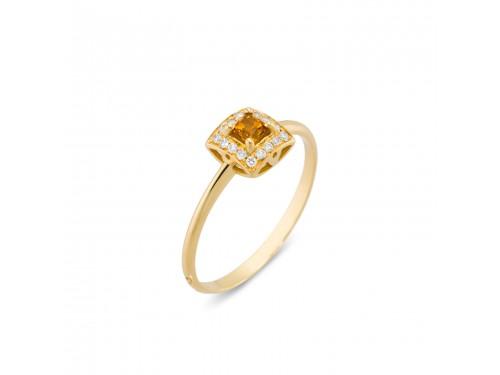 Anello Ponte Vecchio in Oro Giallo, Citrino e Diamanti - collezione Aldebaran