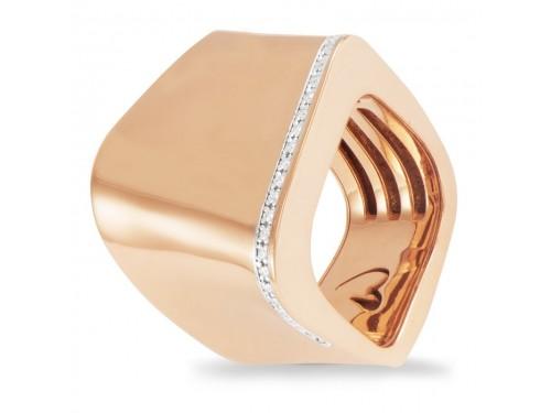 Anello K di Kuore Kult in Oro Rosa con Diamanti Bianchi