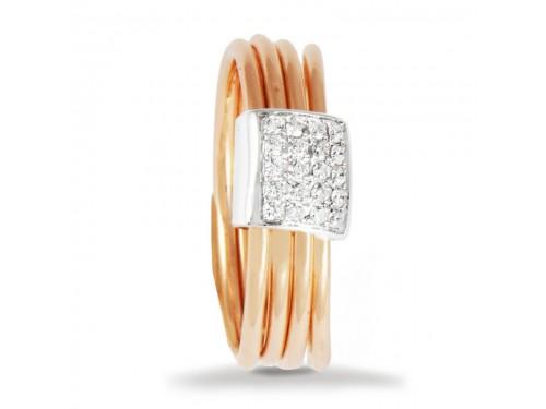 Anello K di Kuore Saturn in Oro Rosa con Pavè di Diamanti Bianchi