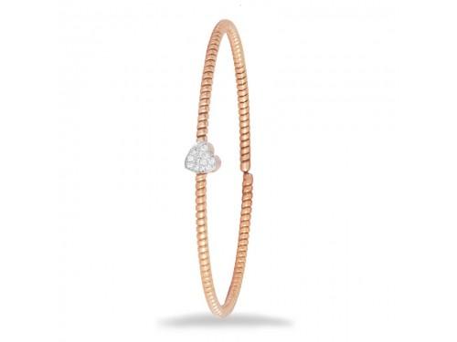 Bracciale K di Kuore Easy in Oro Rosa con Cuore di Diamanti