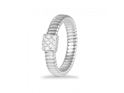 Anello K di Kuore Basic in Oro Bianco con Pavè di Diamanti