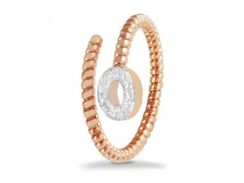 Anello K di Kuore Easy in Oro Rosa con Diamanti