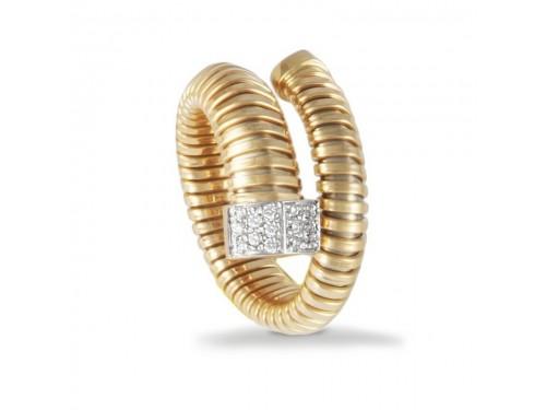 Anello K di Kuore Wide in Oro Giallo con Diamanti