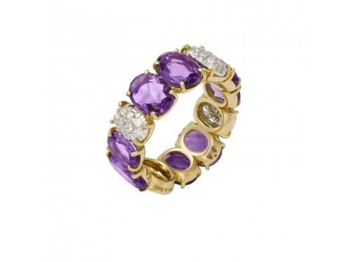 Anello Ponte Vecchio in Oro Giallo con Diamanti ed Ametista Viola - collezione Primavera