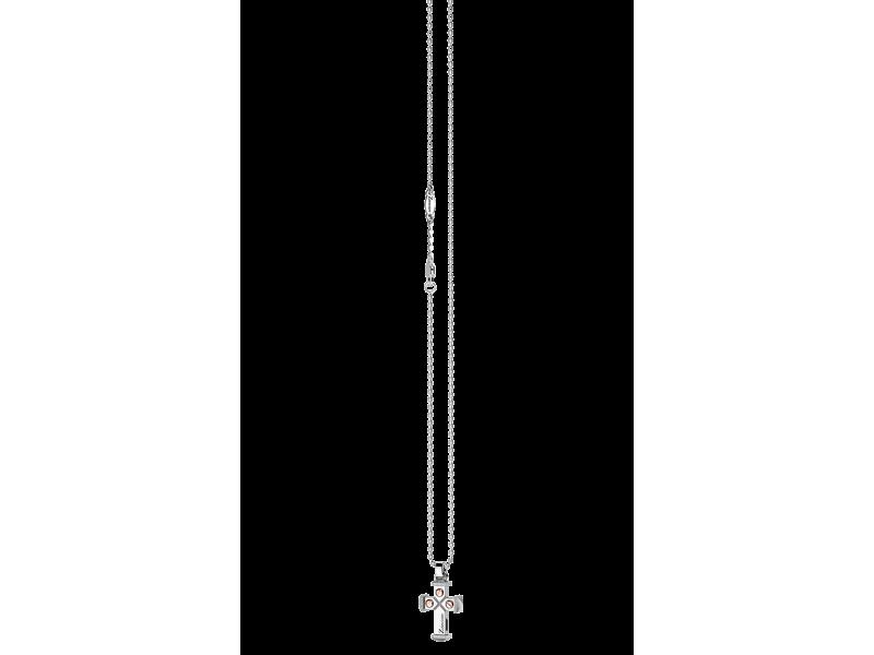 Zancan Collana Insignia con ciondolo a Croce in argento ed inserti in oro
